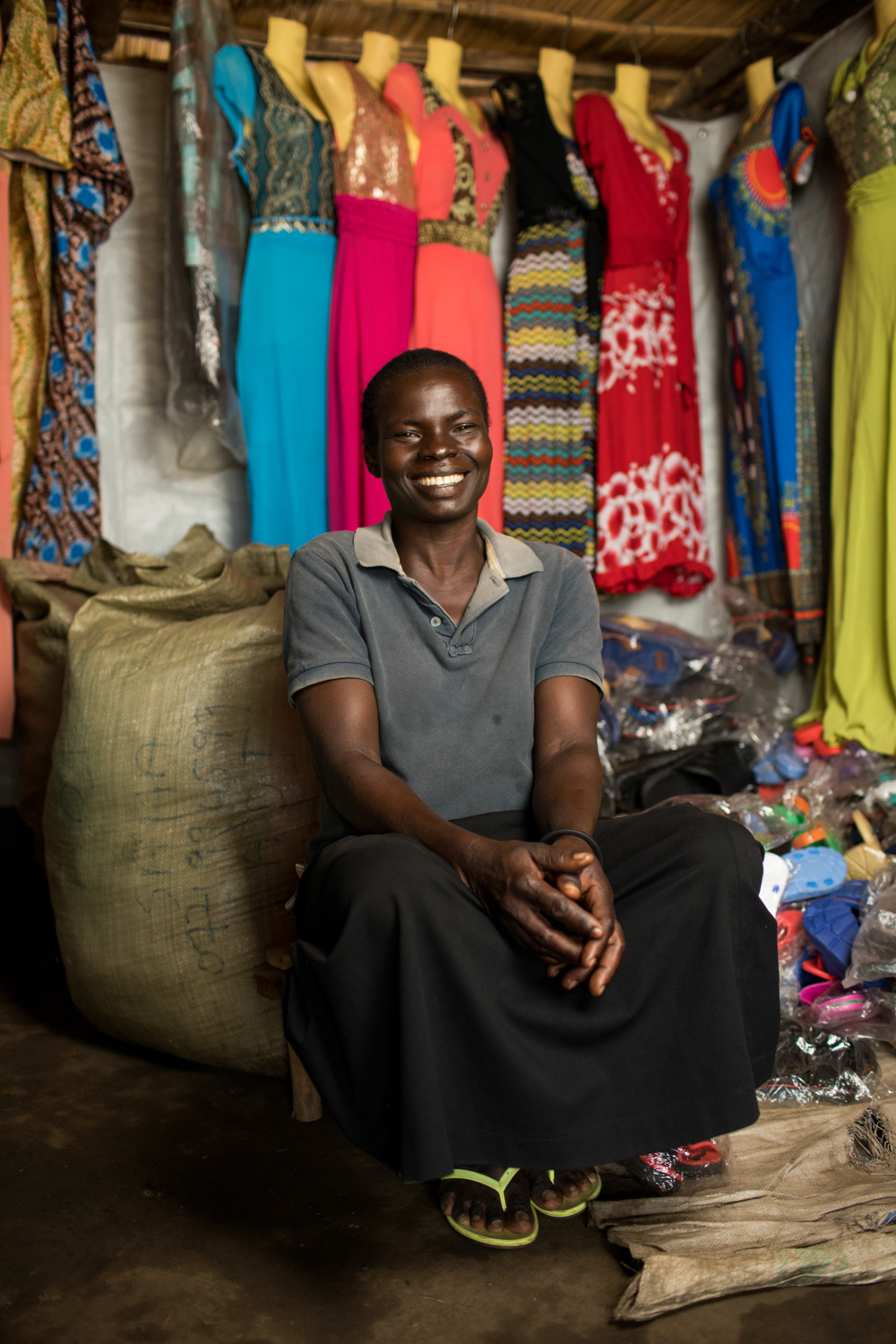 SE savings group member Harriet in her shop. Photo by Esther Havens.